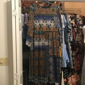 NEW Zara Patchwork Textured Midi Dress